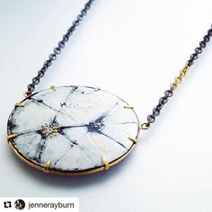 Vitreous Enamel Pendant with Gold and Silver