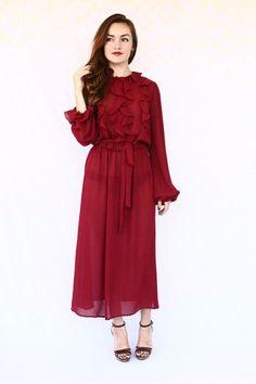 long sleeve dress / wine ruffle dress / by aLaPlageVintage on Etsy, $28.00