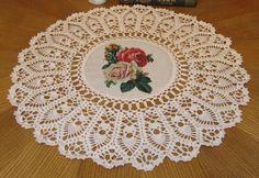 Crochet doily Rose Doilies Crochet Housewares Doily Handmade Napkins Crochet Napkins Table Napkins Doily Round Cotton White (50.00 USD) by DoliaGalinaCrochet