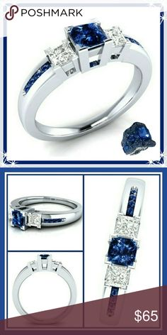 Sterling Silver Blue & White Sapphire Ring The three main stones are Princess Cut,  the blue Sapphires going down both side are round cut.   Sapphires are the 5th & 45th Anniversary stone,  they have lots of healing properties including:♥ Creative expression ♥ Intuition ♥ Meditation ♥ Luck ♥ Wisdom ♥ Optimism ♥ Friendliness ♥ Generosity ♥ Love ♥ Loyalty ♥ Independence ♥ Centreing ♥ Balance ♥ Self-appreciation ♥ Spiritual development ♥ Intellect ♥ Study ♥ Knowledge ♥ Memory  ❤SEE COMMENTS FOR…