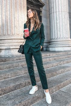 green outfits suiting sneakers