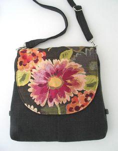 crossbody bag grey backpack messenger floral purse by daphnenen Ipad, Backpack Purse, Crossbody Bag, Grey Backpacks, Bag Pattern Free, Diy Purse, Small Bags, Etsy, Convertible