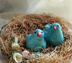 Turquoise Blue Ceramic Bird Couple Love Birds by LaBelleMariposa