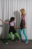 Electrocute band chicks in aqua blue and green pantyhose