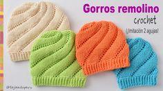 Gorros remolino tejidos a crochet imitación dos agujas - Tejiendo Perú