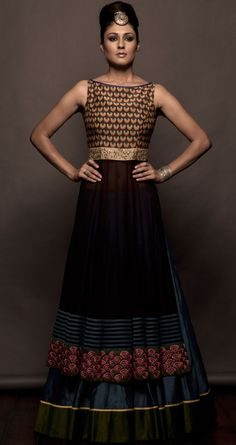Coffe brown anarkali and lehenga set available  at Pernias pop-up shop.