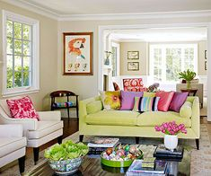 75 Lovely & Cozy Living Room Design & Decor Ideas - Home Decor & Design Colourful Living Room, Cozy Living Rooms, Living Room Colors, Living Room Designs, Living Room Furniture, Living Room Decor, Cream Sofa Living Room Color Schemes, Colorful Couch, Couch Furniture