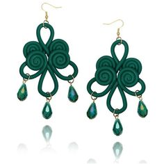 Polymer Clay Chinese Knot Chandelier Earrings Green ❤ liked on Polyvore