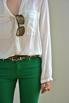 green jeans, white shirt