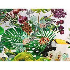 HomeBuy Tropical Toucan Bird & Garden Fabric for Curtains Upholstery - Digital Print Green Cotton Material - wide (Sold by the meter) Curtain Fabric, Curtains, Thing 1, Orange Pattern, Fabric Birds, Tropical Garden, Green Cotton, A Table, Backdrops