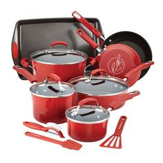 Best Kitchen Faucet | Rachael Ray Hard Enamel Nonstick Cookware Set 14pc  Red -- Click on the image for additional details.(It is Amazon affiliate link) #texas