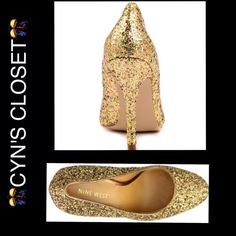 New Glitz And Glam Gold Pumps Sometimes things that Glitter Are Really GoldRuns small fits 11.5/12 Nine West Shoes Heels