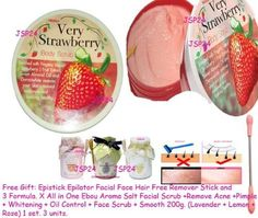 12 Units X Mistine Strawberry Whitening Lightening Exfoliating Body Scrub 220g. (Free Gift: Epistick Epilator Facial Face Hair Free Remover Stick and 3 Formula. X All in One Ebou Aroma Salt Facial Scrub +Remove Acne +Pimple + Whitening + Oil Control + Face Scrub + Smooth 200g. (Lavender + Lemon + Rose) 1 Set. 3 Units.) by JSP24 Mistine. $138.00. 100% Nature Products. 220g. per unit./ This price for 12 units.. Whitening + Reduce Freckle + Remove Dark Spot + Melasma.. (Free Gift...