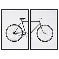 This whimsical bicycle art set gives your home a quirky and fun decorative aesthetic. Framed in the USA in Waunakee, Wisconsin, this floating canvas art will be a pleasure to look at every day in your living room, bedroom, nursery, or any room in the home. Printed on gallery-wrapped canvas and framed with a lightweight polystyrene frame, this wall art has two hangers already attached to the MDF back for easy wall display. 33 inches tall by 23 inches wide Black finish on the frame Easy to hang wi Retro Bicycle, Bicycle Print, Canvas Frame, Canvas Wall Art, Whimsical Fashion, Home Decor Wall Art, Room Decor, Wall Art Sets, Wrapped Canvas