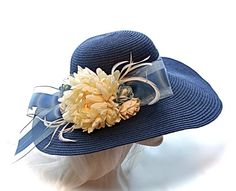 Navy Derby Hat Mother of the Bride Sun Hats by Marcellefinery