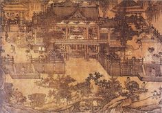 """About the Zhakou Panche Tu: """"The Chinese painting of architectural subjects—buildings, boats, wheeled vehicles, and other mechanical apparatus—is called jiehua. … Under Northern Song court patronage, jiehua reached its zenith and, for the first time, gained recognition as an independent genre in contemporary art criticism."""" —Heping Liu, """"'The Water Mill' and Northern Song Imperial Patronage of Art, Commerce, and Science,"""" The Art Bulletin, 2002."""