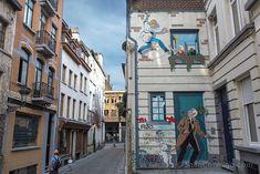 Atentos a las paredes de Bruselas, algunos murales parecen reales, como éste de Ric Hochet