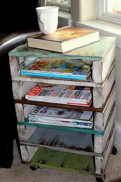 simple and lots of storage side table~with different paint/finish