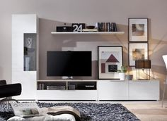 Modern Rimobel Wall Storage System with TV Unit, Tall Cabinet and Low Cabinet - Modern wall storage layout in choice of 7 finishes with display cabinet, tv unit and low cabinet