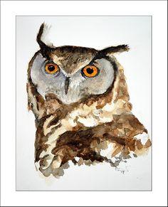 Cape Eagle Owl #3, watercolour