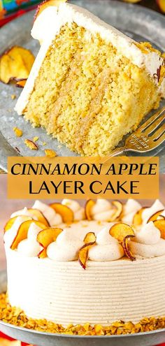 This Cinnamon Apple Layer Cake is incredibly moist, made with fresh apples and has the most amazing apple filling! It's the perfect fall cake! Best Cake Recipes, Apple Recipes, Dessert Recipes, Challenge Butter, Smooth Cake, Apple Filling, Fall Cakes, Fresh Apples, Cinnamon Apples