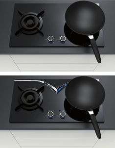The MirrorHob places a v-shaped reflective piece in a strategic position that allows us to see if the flame is on or not, at eye level. Id Design, Smart Design, Smeg Kitchen, Kitchen Appliances, Kitchen Tools, Smart Humor, Keep An Eye On, Compact Kitchen, Black Kitchens