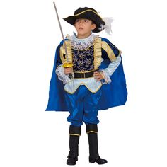 Perfect for Halloween, Renaissance Faire, or playing dress-up games, this boys knight costume features a pair of pants and a shirt, plus a swirling cape. While the belt and feathered hat are included, boots and swords are sold separately.