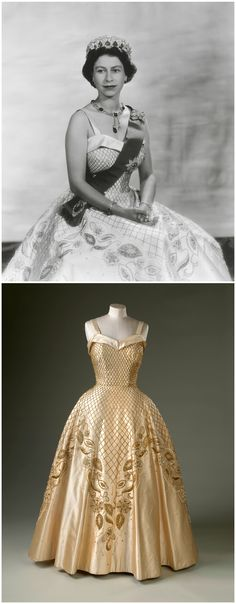 """Evening gown, by Sir Norman Hartnell, 1957. Worn by H.M. Queen Elizabeth II for official portraits by Baron Studios, taken in 1956. Royal Collection Trust/© Her Majesty Queen Elizabeth II 2017. Royal Collection: """"Hartnell repeats the successful combination of oyster duchesse satin embellished in tones of gold and silver. The embellishment includes stylised foliate motifs, padded and appliqued with gold lamé in imitation of the ancient technique of goldwork embroidery."""" CLICK FOR LARGER…"""