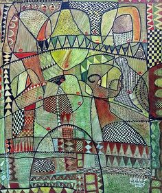 Nike Davies-Okundaye & Tola Wewe, Blossoms of Life, 2000 Creative Connections, Tola, Art Brut, African Artists, Aboriginal Art, Global Art, Outsider Art, Colorful Drawings, Art And Architecture