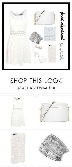"""white dressed"" by therealexandra on Polyvore featuring Pilot, Michael Kors, Miss Selfridge, Dogeared, bestdressedguest and barnwedding"