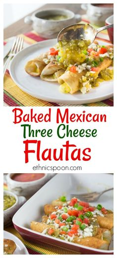 How about a spicy Mexican dish with salsa verde? Today's recipe is three cheese Mexican flautas with some spicy salsa verde. I like to drop my Mexican three cheese flautas in a hot pan with a little oil to give them a nice color and then I bake them with salsa verde and some queso fresco on top. I like to add more salsa verde and a little picante when I serve them.  This recipe is so easy to make too! #queso #cheese #mexicanfood #flautas #salsa #salsaverde #vegetarian #ad | ethnicspoon.com