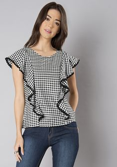 d39ea00964a1c Shop Black Gingham Ruffle Front Top from Shoprapy !