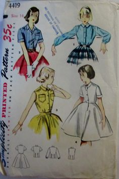 Simplicity 4419 Womens Blouse and Blouse Slip 50s by Denisecraft, $7.99
