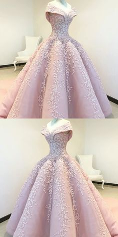 Off the Shoulder Ball Gown Pink Long Prom Dress with Appliques 79db2a6936ce
