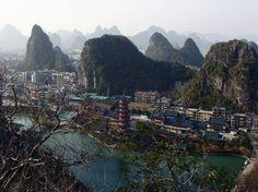 Beautiful limestone hills and lakes of Guilin, China