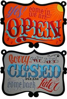 Open and Closed signs by Michiel Van Der Born Pinstriping, Painted Letters, Hand Painted Signs, Tattoo Studio, Typography Letters, Typography Design, Chalk Typography, Tattoo Shop Decor, Religious Tattoo Sleeves