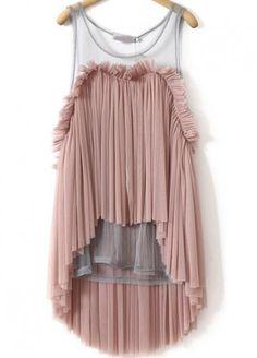 Pink Sleeveless Contrast Sheer Mesh Yoke Pleated Top