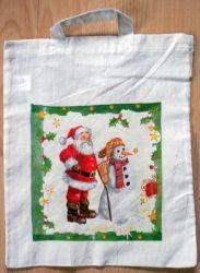 Weihnachtstasche-Weihnachtsmann-und-Schneemann