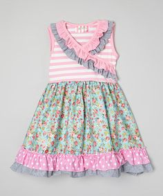 Love this Pink & Aqua Floral Surplice Dress - Infant, Toddler & Girls by Be Girl Clothing on #zulily! #zulilyfinds
