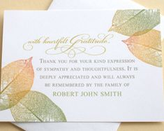 """English OR Spanish Sympathy Thank You Cards with a Big Yellow Gardenia - Personalized - FLAT Cards - 4-7/8"""" x 3-1/2"""""""