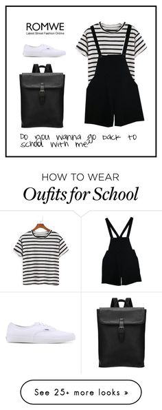 """Back to School"" by romwe on Polyvore featuring American Apparel and Vans"