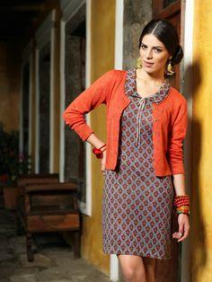 Charming pattern. Dress Christel and cardigan Tiger.