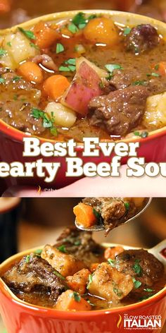 Mar 2019 - Look no further, this is the BEST EVER Hearty Beef Soup! This vegetable beef soup is loaded with tender, juicy chunks of beef that melt in your mouth and a glorious rich soup loaded with vegetables, it is truly the ultimate comfort food. Beef Soup Recipes, Healthy Soup Recipes, Ground Beef Recipes, Dinner Recipes, Cooking Recipes, Recipe For Beef Stew, Good Soup Recipes, Beef Soup Crockpot, Quick Beef Stew