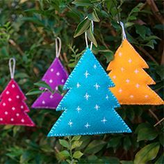 Hand-stitched felt ornaments-- stars, trees, snowflakes, gingerbread people, birds...