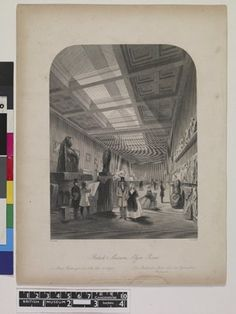 DRAFT. View down a long gallery containing the Parthenon sculptures or 'Elgin marbles', visitors viewing and drawing the objects, light streaming from the windows let in the roof.  Etching