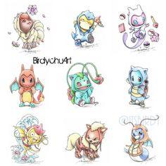 Pokemon cosplaying as their evolutions. Can you guess my three all time favorites? Mega Pokemon, Pokemon Fan, Cute Pokemon Wallpaper, Pokemon Tattoo, Pokemon Cosplay, Pikachu, Fan Art, Cute Pictures, Chibi