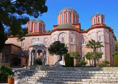"The new ""Katholikon"" (main church) at Xenophontos H. Monastery on Mt. Greece Vacation, Greece Travel, Ancient Greek Theatre, The Holy Mountain, Religious Architecture, Le Palais, Ancient Ruins, Thessaloniki, World Heritage Sites"