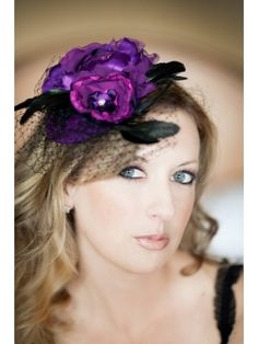 purple cocktail hat....I want this style to come back! Loved when women used to wear hats all the time!