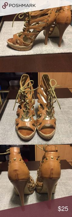 Bakers tan lace up heels, used twice! I've only worn these a couple of times, super flattering on the foot. They are a size 7 and they run true to size, does not come with box. Bakers Shoes Heels