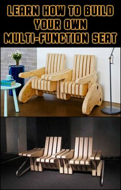 DIY this designer multi-functional seater! Use it as a bench, an arm chair, a seat with side table or a display table...